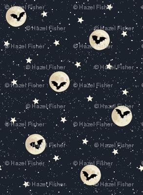 Bats and Moons Halloween Night Sky