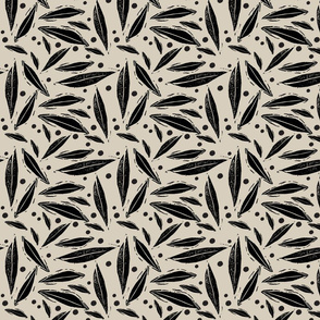 blockprint leaves and dots beige