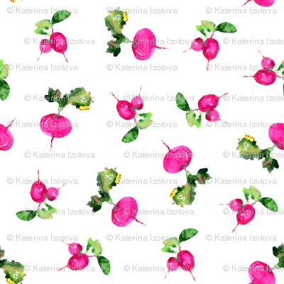 Watercolor pink veggies