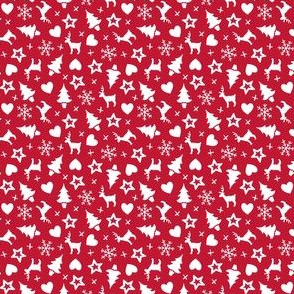 Christmas With Love - ditsy white on red