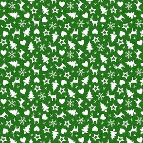 Christmas With Love - ditsy white on green