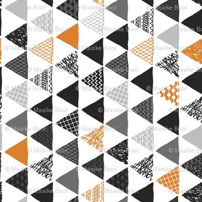 Geometric tribal aztec triangle orange tangerine modern patterns rotated