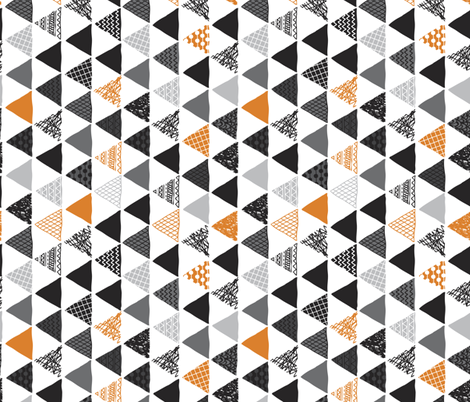 Geometric tribal aztec triangle orange tangerine modern patterns rotated fabric by littlesmilemakers on Spoonflower - custom fabric