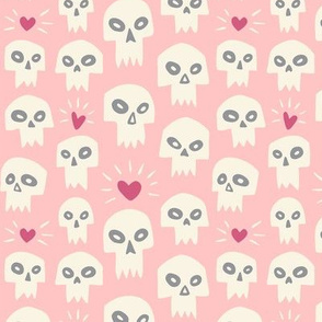 Skulls with Hearts // Pink
