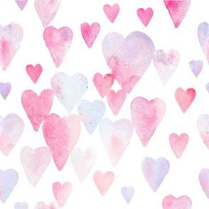Watercolor Pastel Hearts