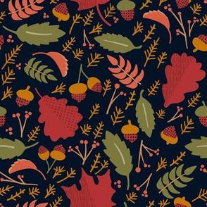 Fall Leaves // Autumn pattern Leaves Berries Acorns