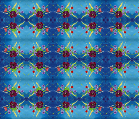 Pansy Bouquet Deep Blue fabric by peaceofpi on Spoonflower - custom fabric