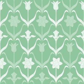 Spring Flower Bulbs in Bloom Lrg Mint White