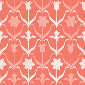Spring Flower Bulbs in Bloom Lrg Coral White