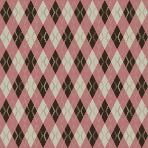 pink brown and beige argyle