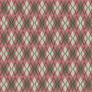 pink and tan argyle