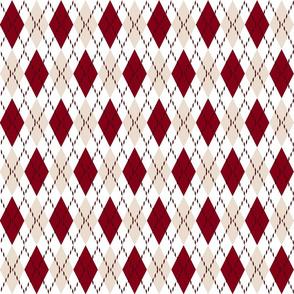 red white and cream argyle