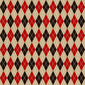 brown and red argyle