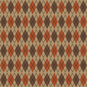 brown and orange argyle