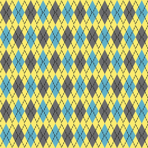 blue gray and yellow argyle