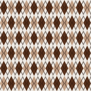 brown white and beige argyle