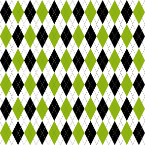 Black Green and white argyle