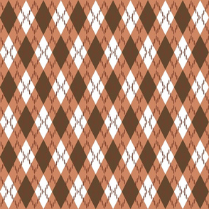 brown, orange and whit argyle
