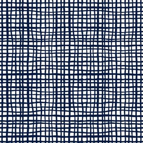 grid lines navy blue grid fabric coordinate