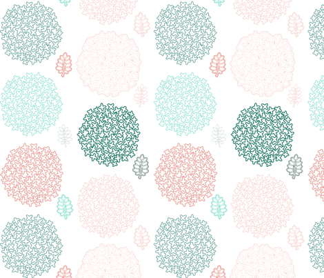 mod flowers blue coral fabric by mrshervi on Spoonflower - custom fabric