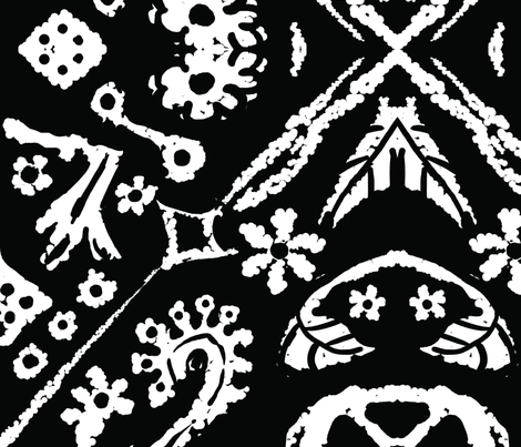 diamond_flowers_black_large fabric by blayney-paul on Spoonflower - custom fabric