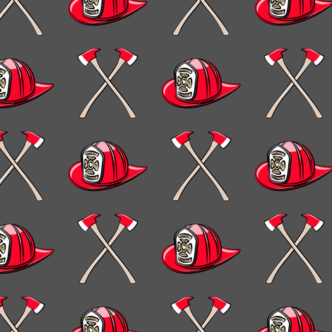 firefighter - helmet and axe on dark grey fabric by littlearrowdesign on Spoonflower - custom fabric