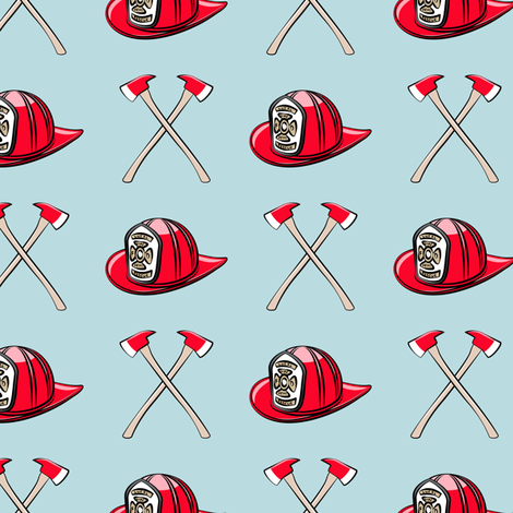 firefighter - helmet and axe on blue fabric by littlearrowdesign on Spoonflower - custom fabric