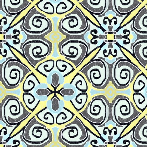 Sarah Quatrefoil woodcut fabric by palifino on Spoonflower - custom fabric