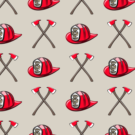 firefighter - helmet and axe on beige fabric by littlearrowdesign on Spoonflower - custom fabric