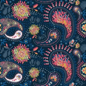 Pink and Blue Paisley by Tresa
