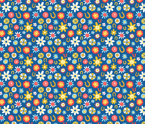 Flowers and Lucky Horse Shoes fabric by juliagreenillustration on Spoonflower - custom fabric