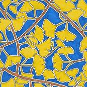 Ginkgo Leaves in Yellow on Dark Blue