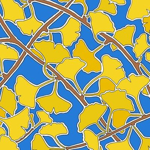 Ginkgo Leaves in Yellow on Dark Blue