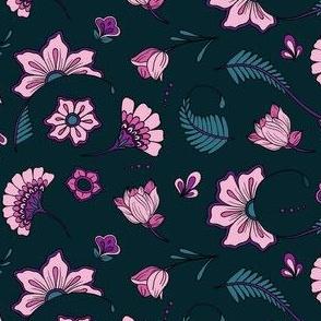Bohemian Paisley Flowers - Teal and Peony