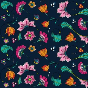 Bohemian Paisley Flowers - Navy Spring