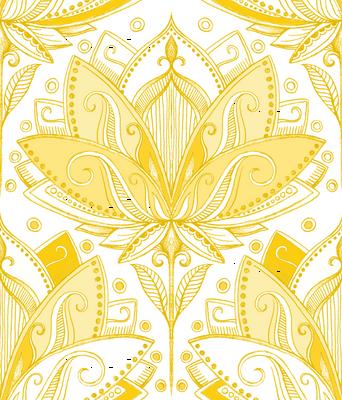 Warm Golden Yellow Art Nouveau Lotus Lace