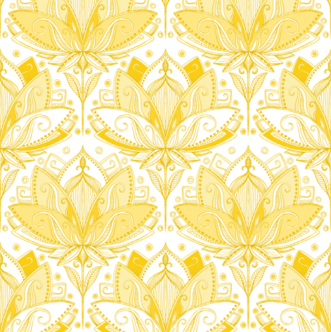 Warm Golden Yellow Art Nouveau Lotus Lace fabric by micklyn on Spoonflower - custom fabric