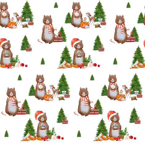 """4"""" Holiday Gathering Friends / White fabric by shopcabin on Spoonflower - custom fabric"""