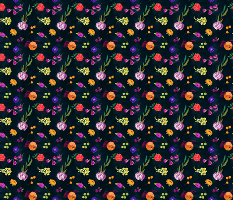 Painted Flowers - Watercolor and Acrylic fabric by colourcult on Spoonflower - custom fabric