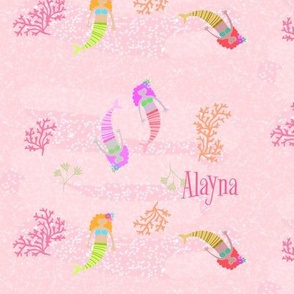 mermaids 7 - pink shimmer PERSONALIZED Alayna