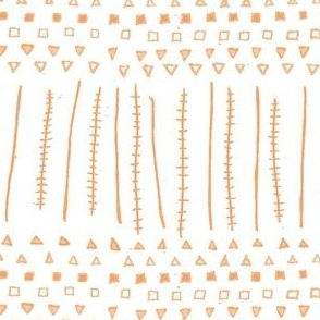 Mudcloth Geometeric Shapes Stripes Coral Orange