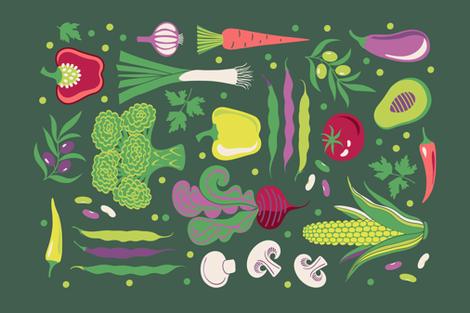 Veggies menu TeaTowel  fabric by olgart on Spoonflower - custom fabric