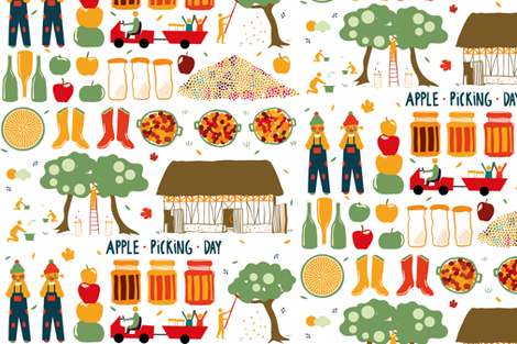 Apple picking fabric by motifunique on Spoonflower - custom fabric