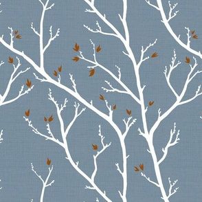 Fall Branches, Autumn Rust on Blue Grey Linen