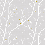 Blossom Branches, Autumn Gold on Grey2