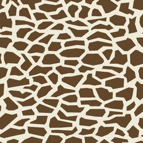 Giraffe Safari Spots, Brown Abstract Shapes, Mosaic Tiles
