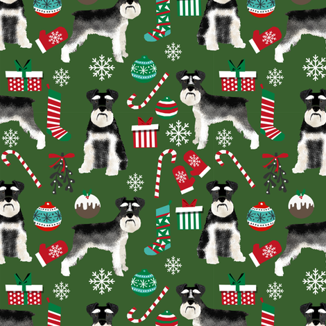 Schnauzer black and white christmas presents stockings candy canes winter fabric green fabric by petfriendly on Spoonflower - custom fabric