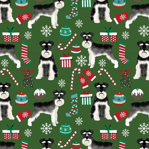 Schnauzer black and white christmas presents stockings candy canes winter fabric green
