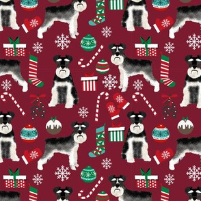 Schnauzer black and white christmas presents stockings candy canes winter fabric ruby