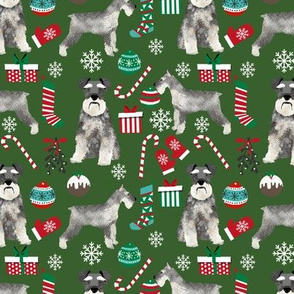 Schnauzer christmas presents stockings candy canes winter fabric green